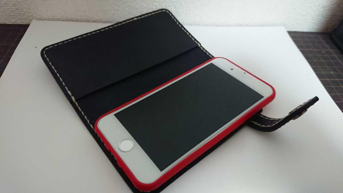 ハンドメイド レザークラフト iphone7 iphone8 手帳型ケース 牛本革 ヌメ革 手縫い 染色(ネイビー)_画像7
