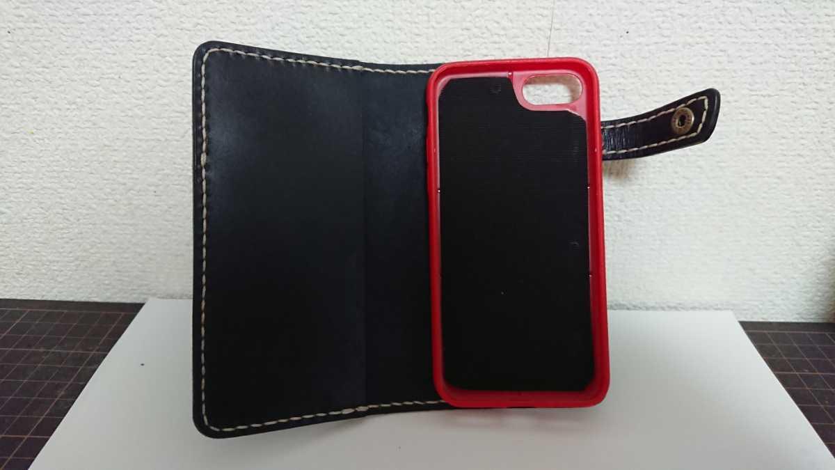 ハンドメイド レザークラフト iphone7 iphone8 手帳型ケース 牛本革 ヌメ革 手縫い 染色(ネイビー)_画像6