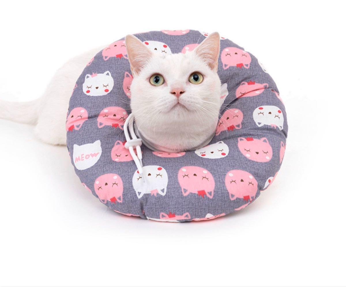 ペット用 エリザベスカラー 100%綿 柔らかい グレー猫 Mサイズ 翌日発送