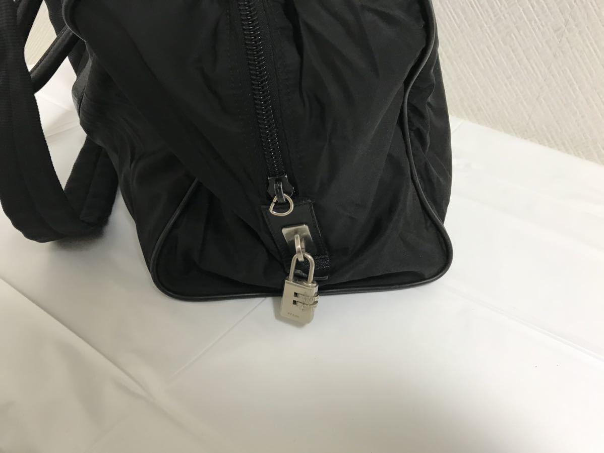 美品本物プラダPRADA本革レザーナイロン2wayビジネストートショルダーバッグデカビッグボストンバック旅行トラベル黒メンズレディース