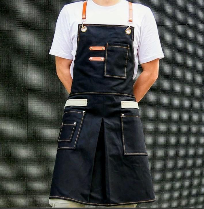 アウトドアエプロン BBQ・DIY・コーヒーショップ・作業服・理髪店などで大活躍!男女兼用 万能エプロン イエロー