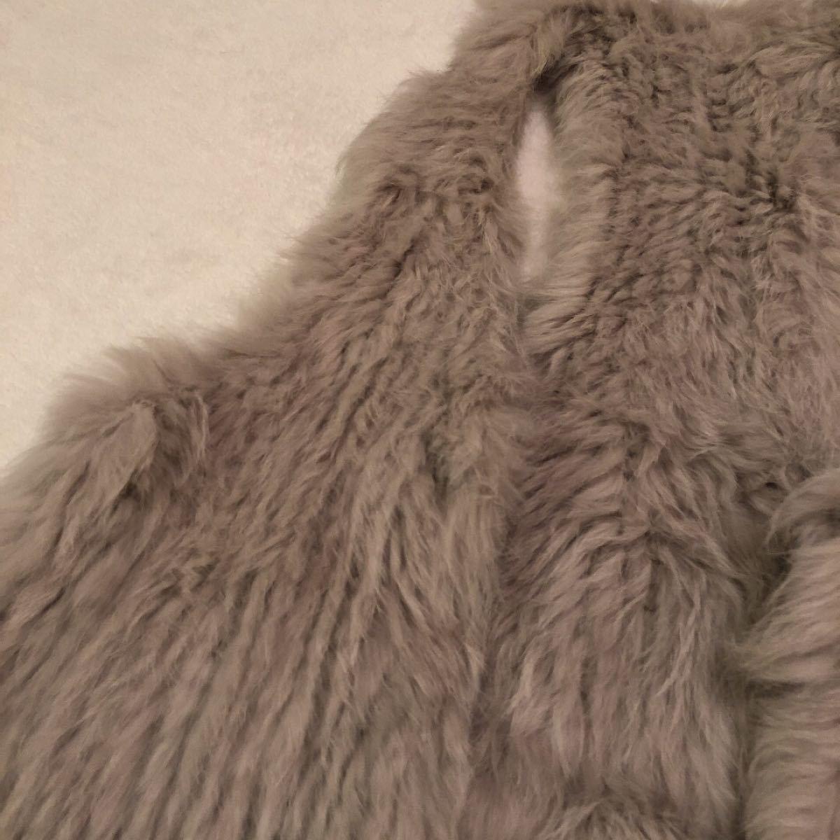 ファー【美品】マフラー ファーベスト ラビットファー 羽織 ドレス ジャケット 毛皮 ムートン