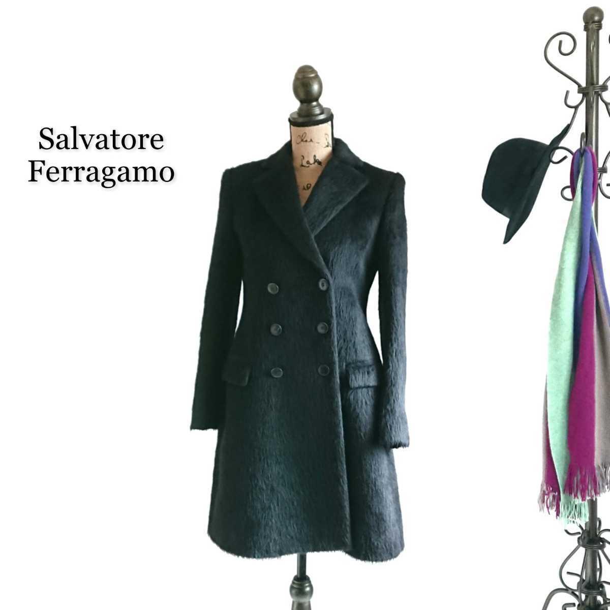 高級 美品 Salvatore Ferragamo フェラガモ コート ブラック_画像1