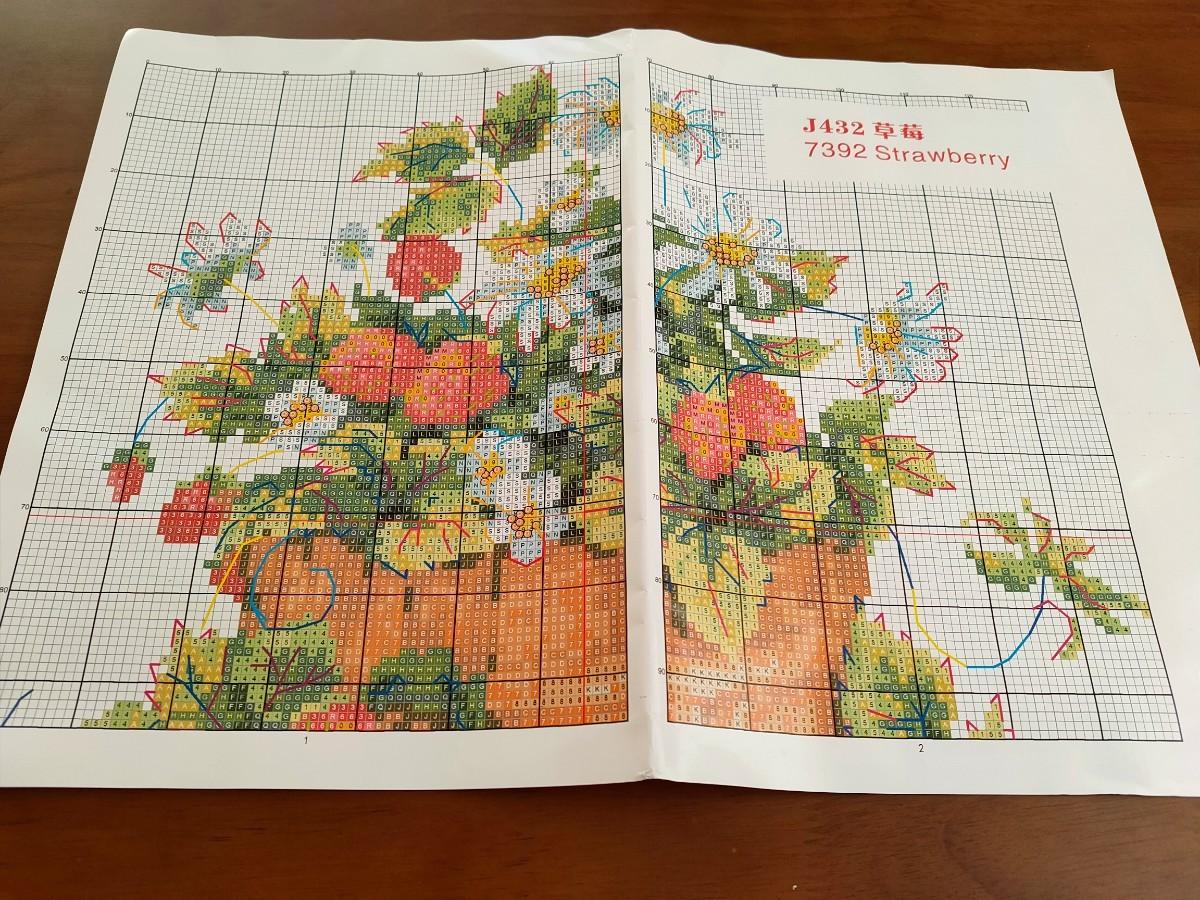 クロスステッチキット ストロベリー いちご 苺 31×33cm 14CT 刺繍 フルーツ