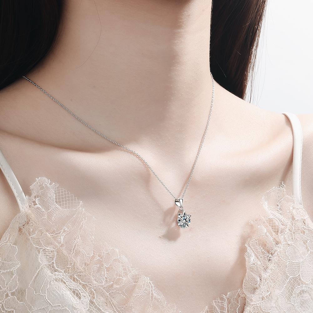 スターリングシルバー新女性ファッションジュエリー高品質クリスタルジルコン五芒星のペンダント_画像4