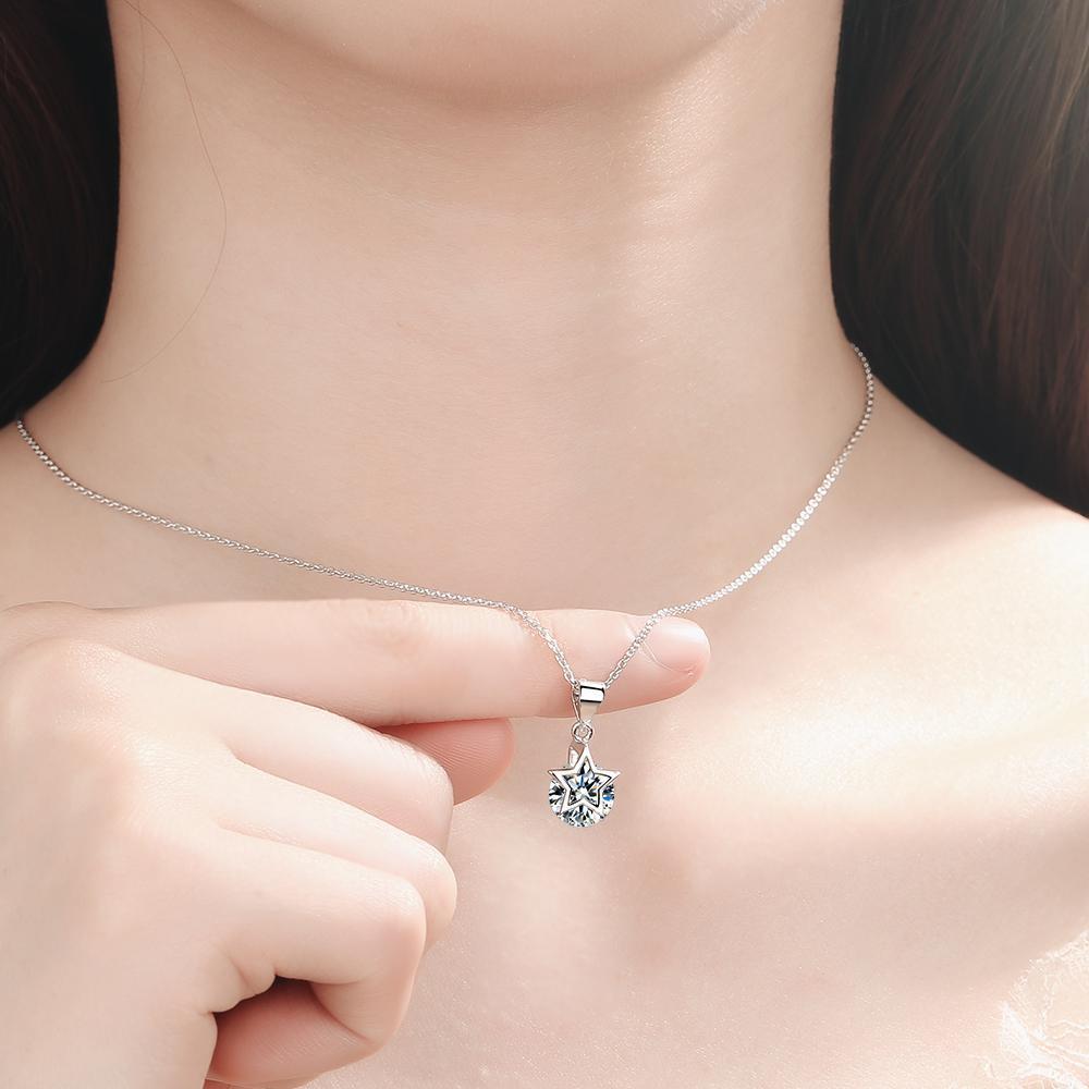 スターリングシルバー新女性ファッションジュエリー高品質クリスタルジルコン五芒星のペンダント_画像5