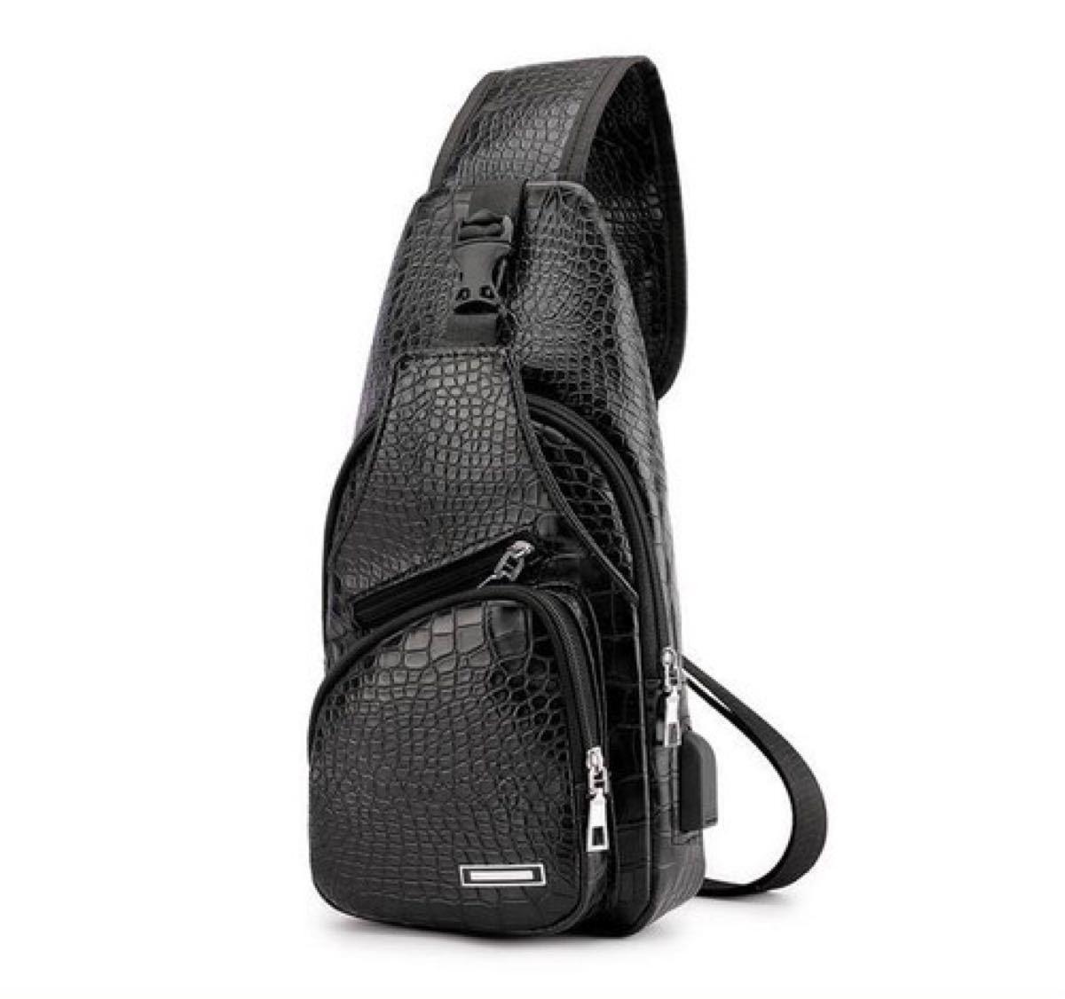 ボディバッグ ボディーバッグ ショルダーバッグ メンズ クロコデザイン ブラック USBポート 鞄 USBポート