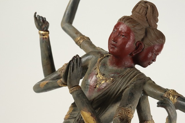 喜多敏勝作 蝋型青銅製 本金箔仕上 阿修羅像 仏教美術 証付