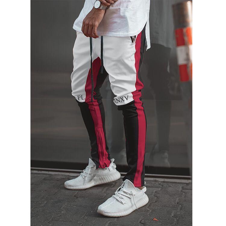 ラインパンツ ジョガーパンツ ストレッチ スキニー トラックパンツ テーパードパンツ ボトムス メンズ レディース ストリート 白 黒 赤 L