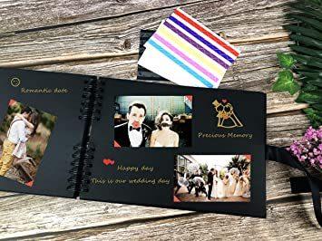 イエロー フォトアルバム 手作りアルバム 黒台紙写真集 フォトフレームブック 結婚式のスクラップブック DIY プレ_画像5