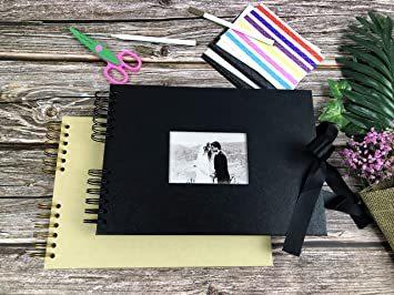 イエロー フォトアルバム 手作りアルバム 黒台紙写真集 フォトフレームブック 結婚式のスクラップブック DIY プレ_画像6