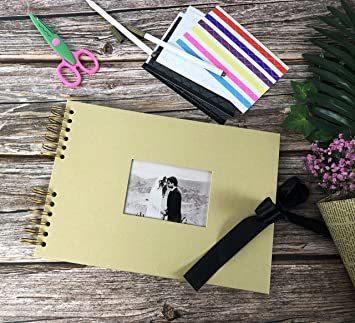 イエロー フォトアルバム 手作りアルバム 黒台紙写真集 フォトフレームブック 結婚式のスクラップブック DIY プレ_画像4