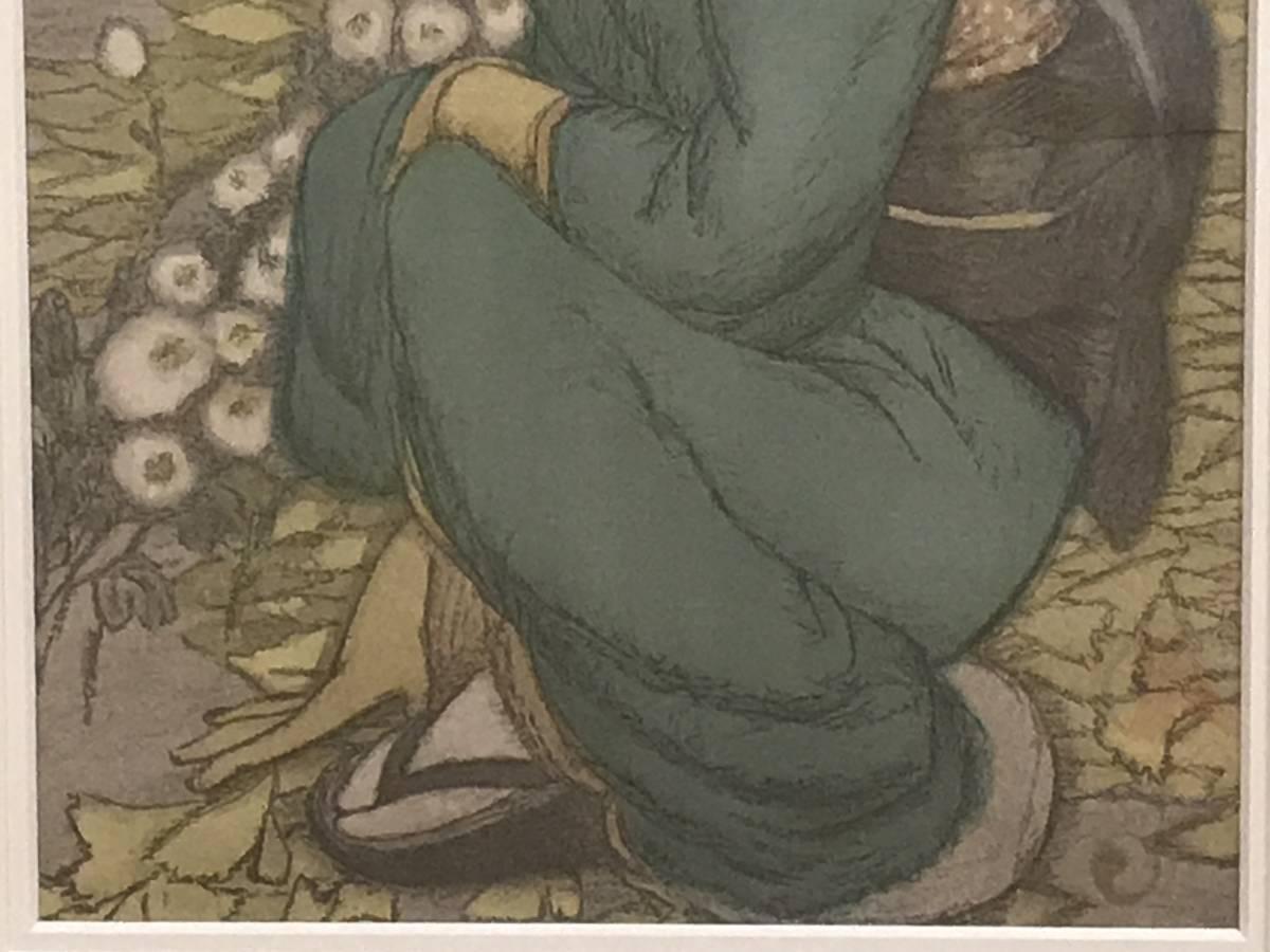 竹久夢二 「庭の千草(大正9年・セノオ楽譜表紙絵)」 リトグラフ_画像4