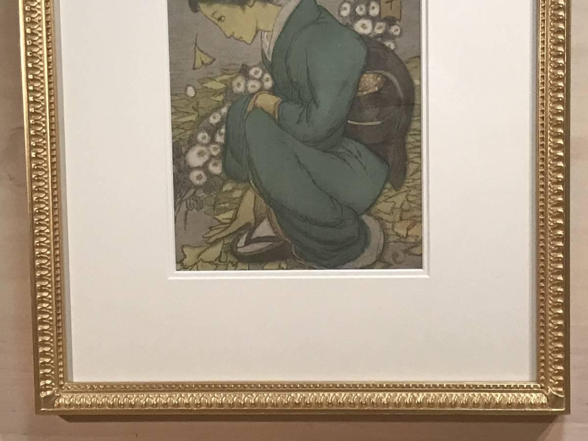 竹久夢二 「庭の千草(大正9年・セノオ楽譜表紙絵)」 リトグラフ_画像7
