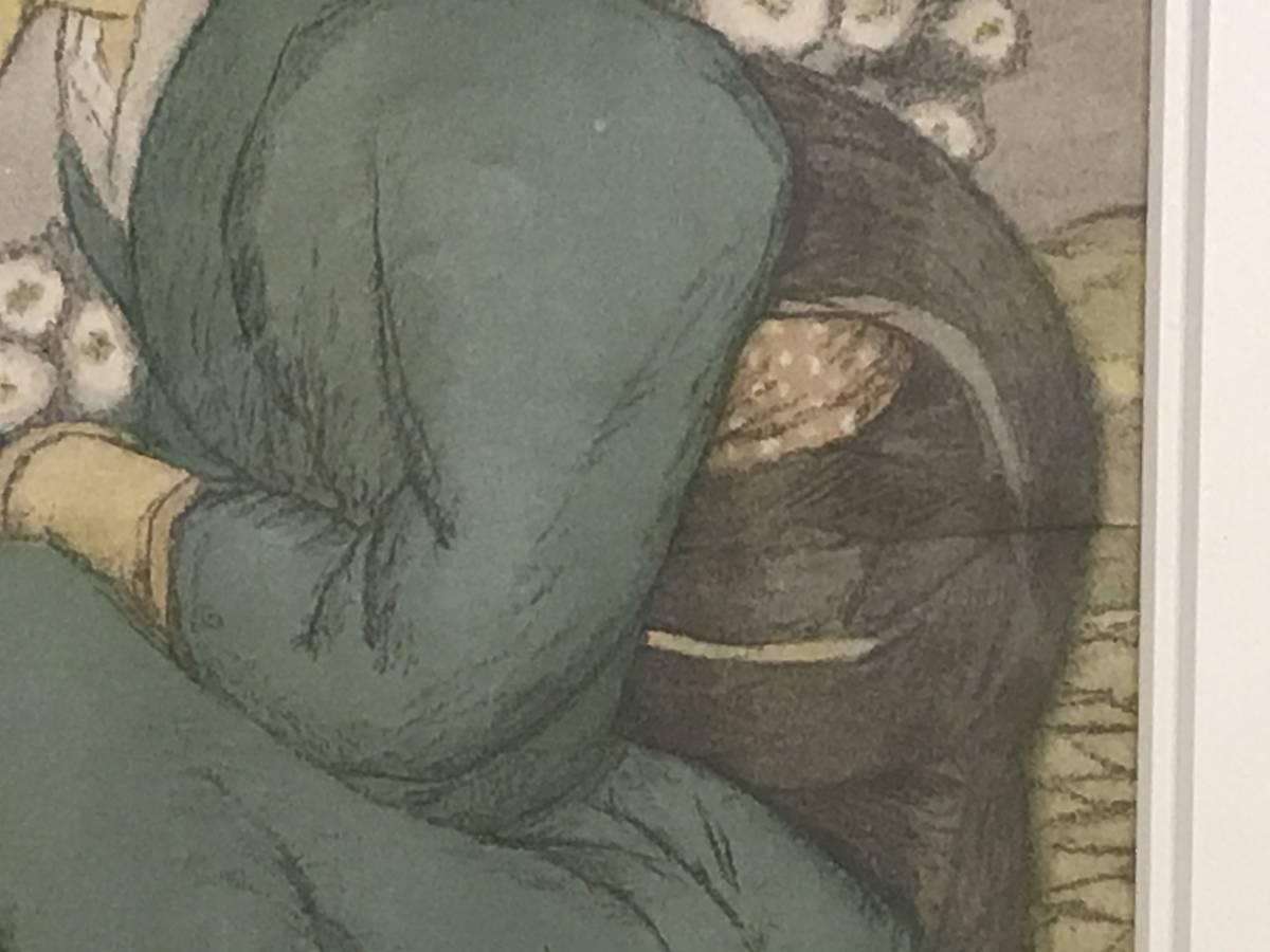 竹久夢二 「庭の千草(大正9年・セノオ楽譜表紙絵)」 リトグラフ_画像9