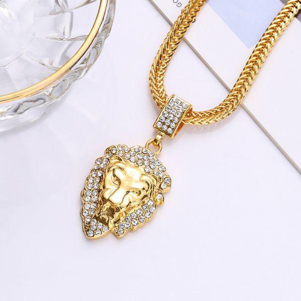 HIPHOP★ライオンの頭 ネックレス ペンダント メンズ ダイヤモンド ダイヤ嵌める 贅沢 男性用 アクセサリー ギフト アメカジ ゴールド_画像5
