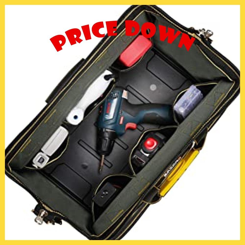 34.5x20.5x22CM YZL ツールバッグ 工具袋 ショルダー ベルト付 肩掛け 手提げ 大口収納 差し入れ 底部特化 _画像5
