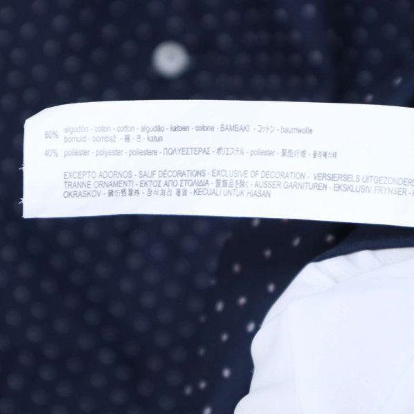美品★ ZARA MAN ザラ マン 【SLIM FIT】 総柄 長袖 シャツ Sz.L メンズ ネイビー E1T00413_2#C_画像7