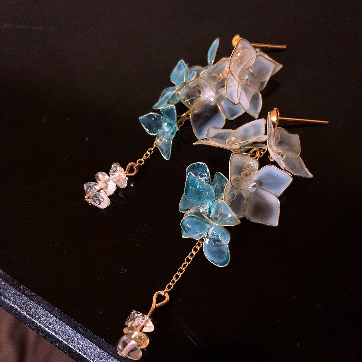 お花摘み ピアス/イヤリング ディップアート アメリカンフラワー ワイヤーフラワー デート きれい 結婚式 ブライダル 大人 可愛い 透明感_画像1