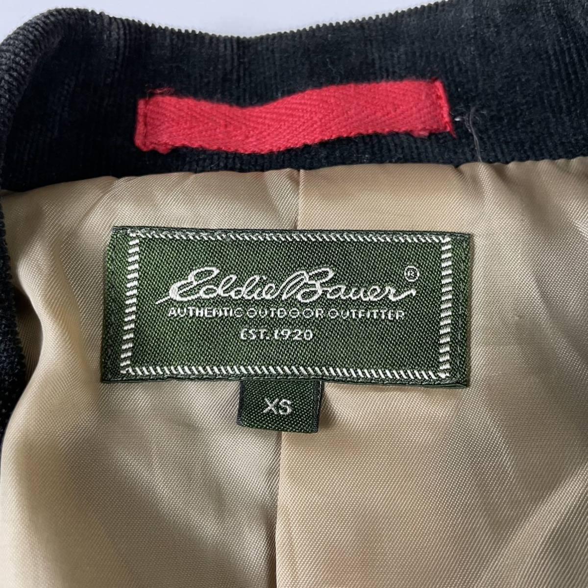 エディーバウアー EDDIE BAUER コーデュロイジャケット ブレザー テーラード シングル 2B size XS ブラック 古着