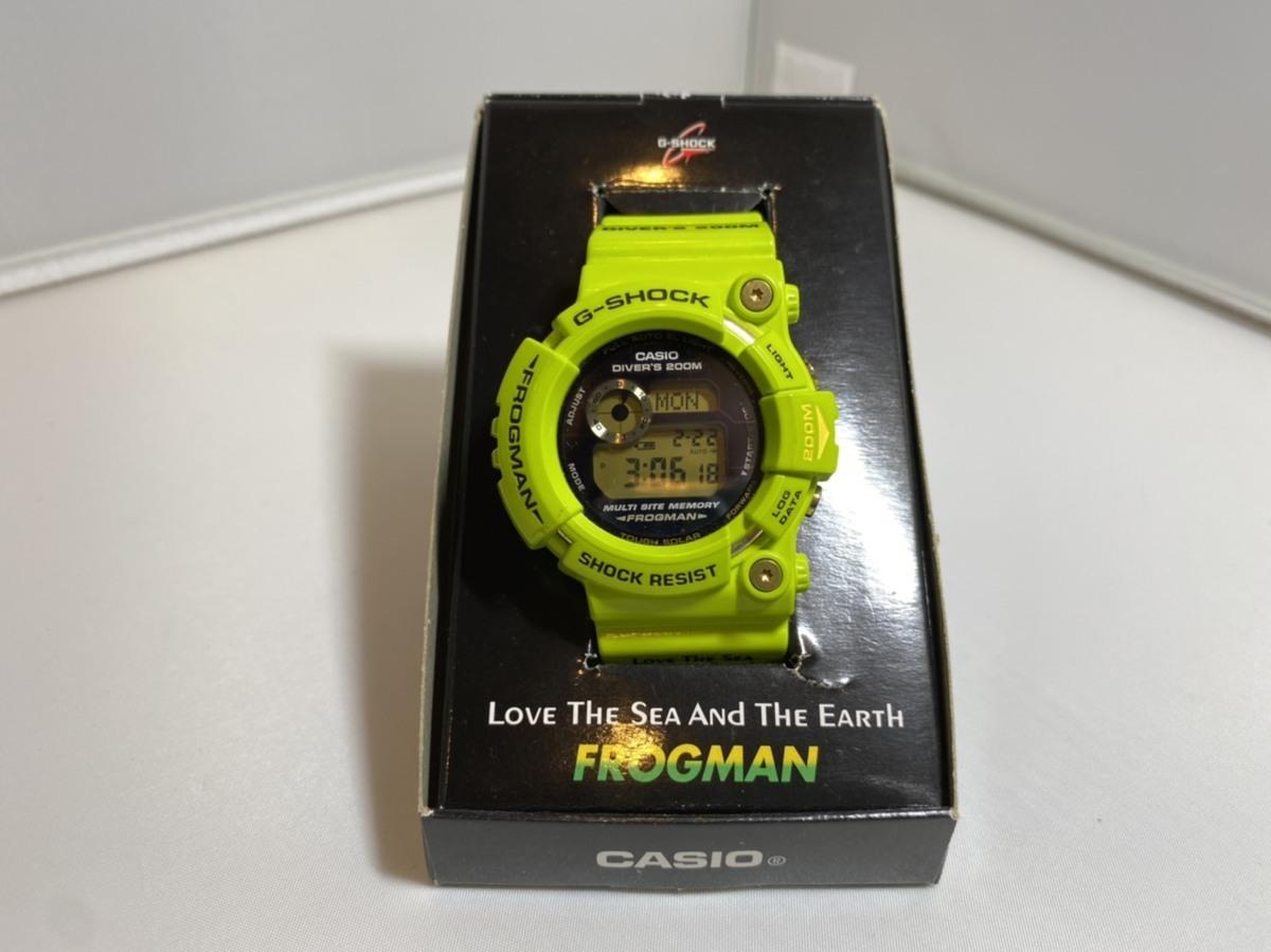 【1円~】G-SHOCK Gショック CASIO カシオ 雨蛙 GW-200F-3JR FROGMAN フロッグマン 説明書無し 黄緑 腕時計 メンズ