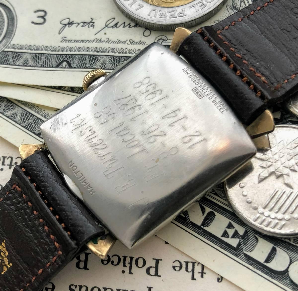 【1円スタート】/ハミルトン◎/HAMILTON/10KGF/金張り/ゴールド 手巻き/Cal.730/メンズ腕時計/60's USA/アンティーク/アメリカ/専用箱付_画像9