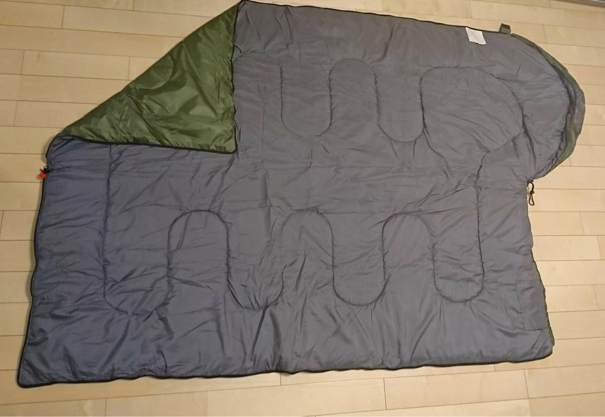 新品 寝袋 シュラフ 限界使用温度 -10℃ セット オールシーズン 秋冬 防災 アウトドア 緑 アウトドア 車中泊 夜勤