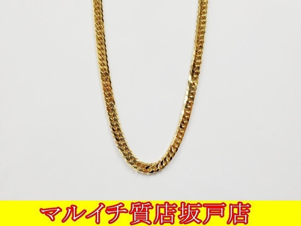 k18イエローゴールド 6面ダブル喜平ネックレス 50cm 30.2g_画像1