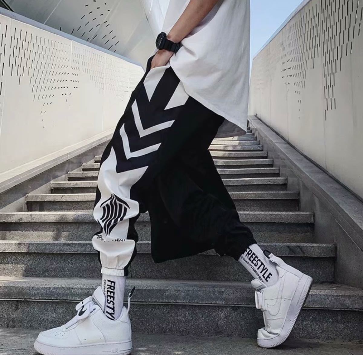 シャカパン ジョガー パンツ メンズ ブラック ライン スウェット ジャージ 黒  メンズパンツ  サルエルパンツ ホワイト 白