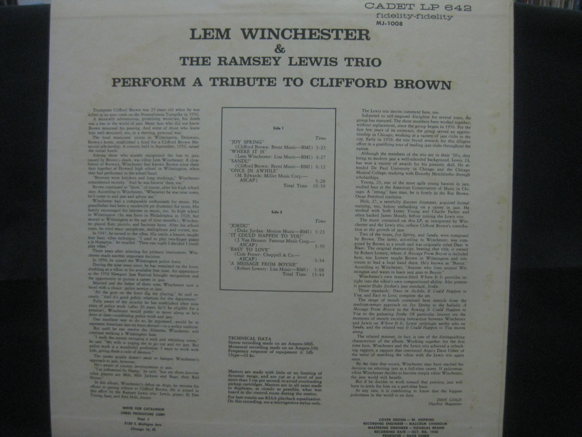Lem Winchester And The Ramsey Lewis Trio / Perform A Tribute To Clifford Brown ◆LP3575NO OBRP◆LP_画像2