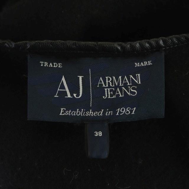 アルマーニ ジーンズ ARMANI JEANS ウールケープ コート アウター パイピング 38 黒 ブラック /HS ■OS レディース_画像5