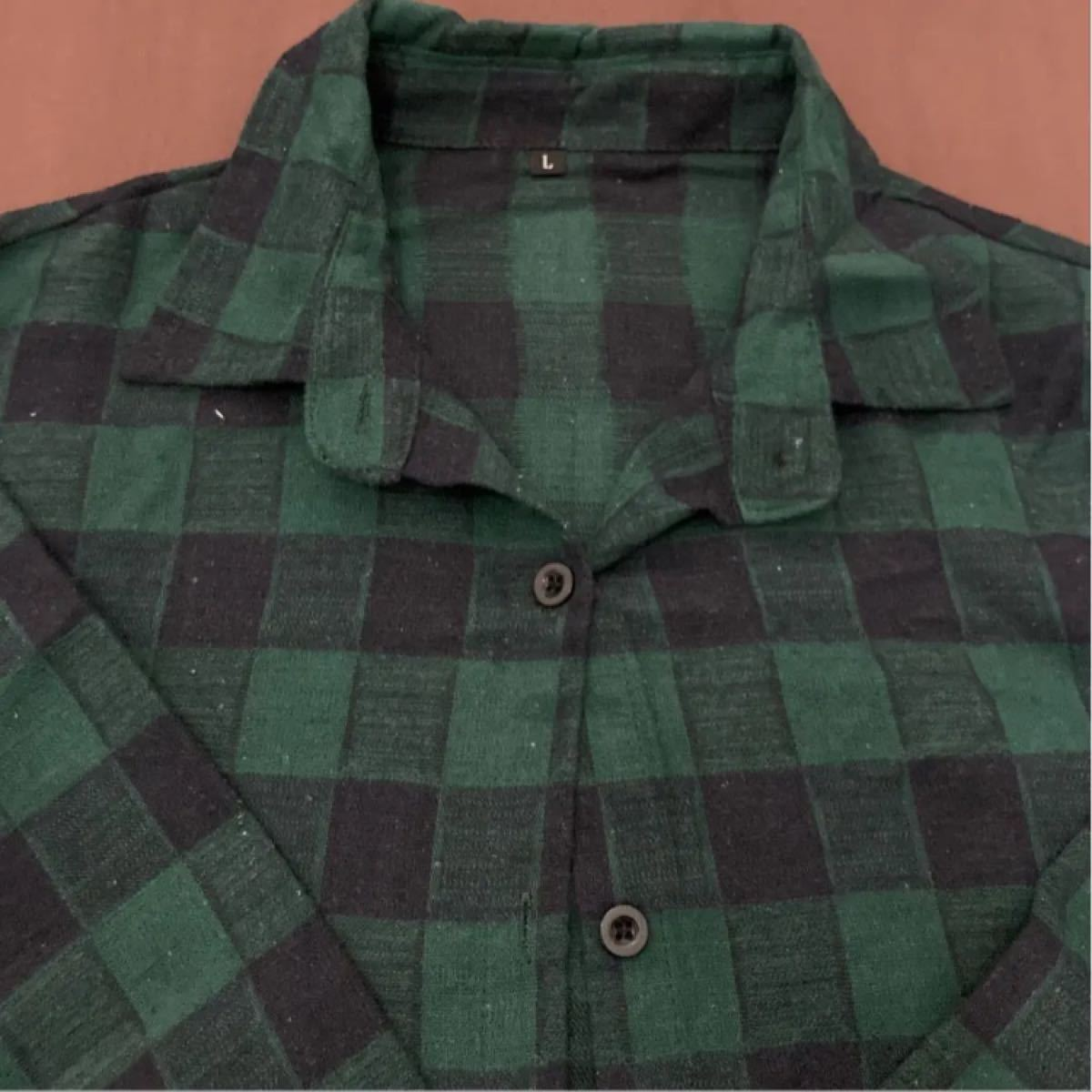 チェック シャツワンピース ロングカーディガン 緑 グリーン green チェックワンピース チェックシャツ