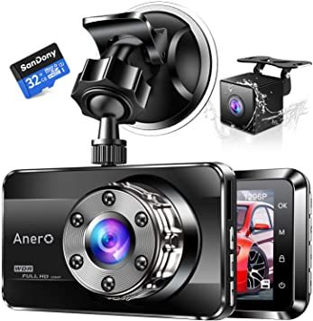 ドライブレコーダー 32GB SDカードセット フルHD 前後カメラ 170度広角レンズ 上書き録画 暗視機能 操作簡単 黒_画像1