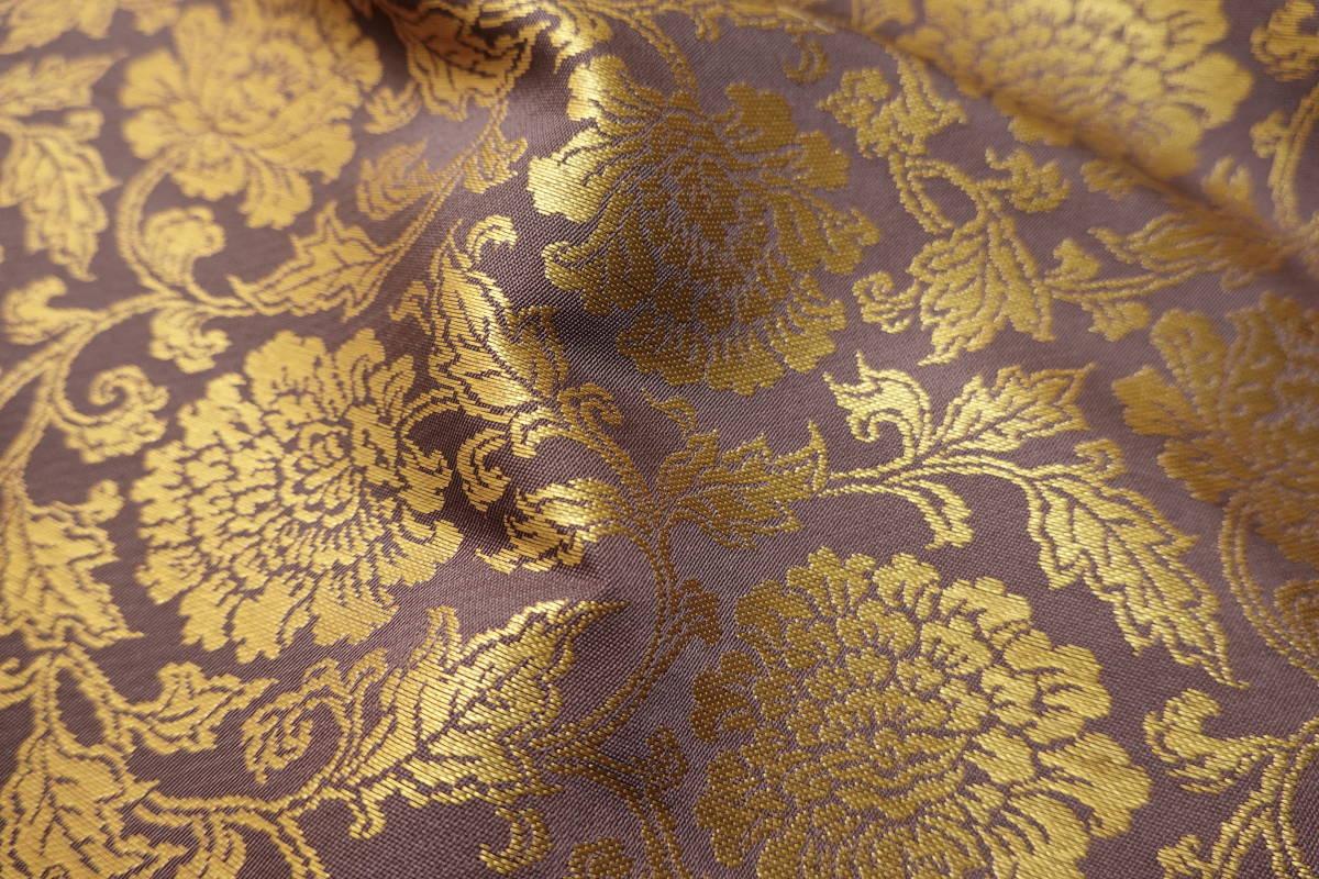 ◆六◆完全未使用品◆極上◆金襴緞子◆金糸◆反物◆74㎝×9m90㎝◆佛教法衣神職七条袈裟五条袈裟横被装束神主巫女神社寺和尚打敷表具表装_画像4