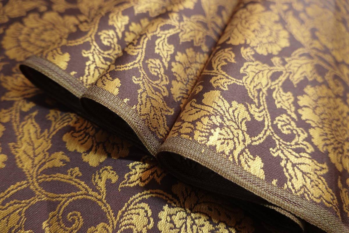 ◆六◆完全未使用品◆極上◆金襴緞子◆金糸◆反物◆74㎝×9m90㎝◆佛教法衣神職七条袈裟五条袈裟横被装束神主巫女神社寺和尚打敷表具表装_画像6