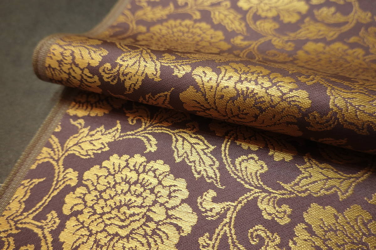 ◆六◆完全未使用品◆極上◆金襴緞子◆金糸◆反物◆74㎝×9m90㎝◆佛教法衣神職七条袈裟五条袈裟横被装束神主巫女神社寺和尚打敷表具表装_画像8