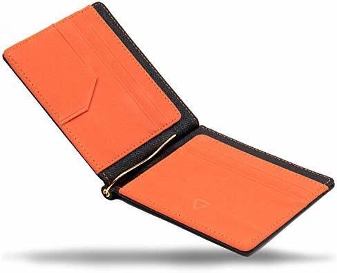 ブラック/オレンジ 【GRAV】 マネークリップ メンズ カードケース 財布 二つ折り 札入れ (ICカードポケット 隠しポケッ_画像1