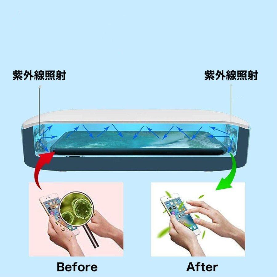 紫外線 UV スマホ 99.9% 除菌ケース アロマ機能 iPhone Android スマートフォン マスク アクセサリー メガネ 腕時計 除菌 USB給電_画像3