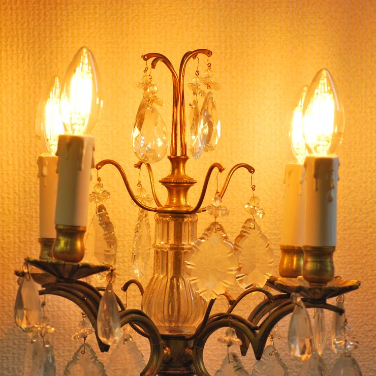 #201308スタンド照明本物アンティーク照明1940年フランス原産テーブルランプ4灯真鍮/ガラス製PSE表示品PL保険付_画像2