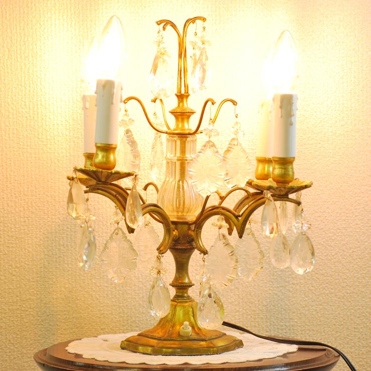 #201308スタンド照明本物アンティーク照明1940年フランス原産テーブルランプ4灯真鍮/ガラス製PSE表示品PL保険付_画像1