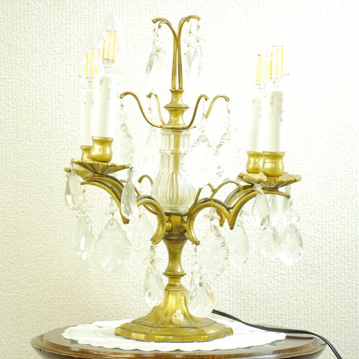#201308スタンド照明本物アンティーク照明1940年フランス原産テーブルランプ4灯真鍮/ガラス製PSE表示品PL保険付_画像6