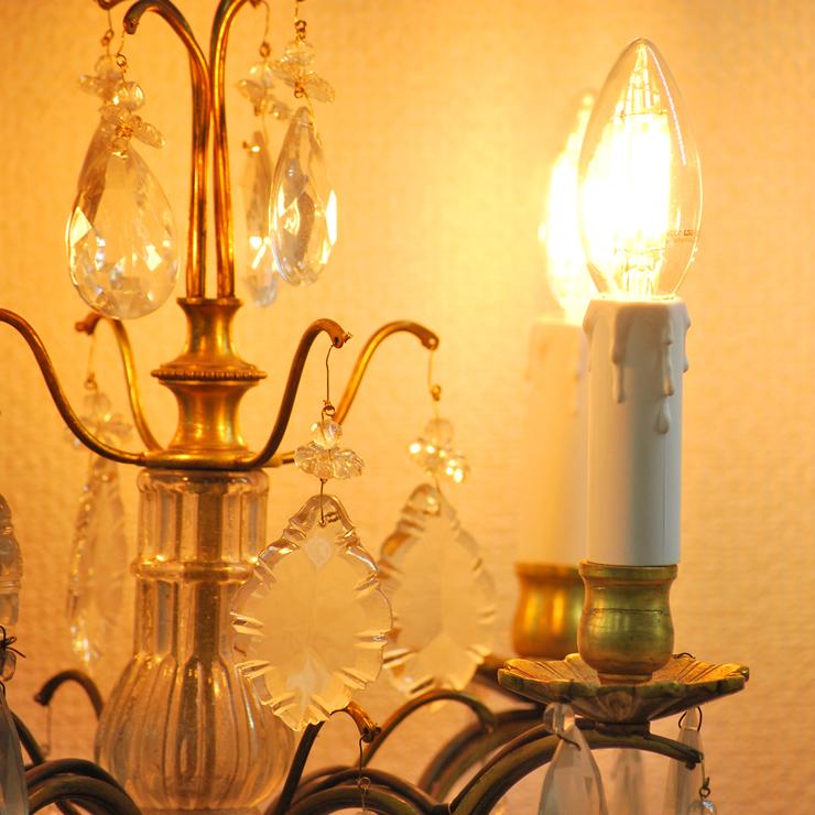 #201308スタンド照明本物アンティーク照明1940年フランス原産テーブルランプ4灯真鍮/ガラス製PSE表示品PL保険付_画像4