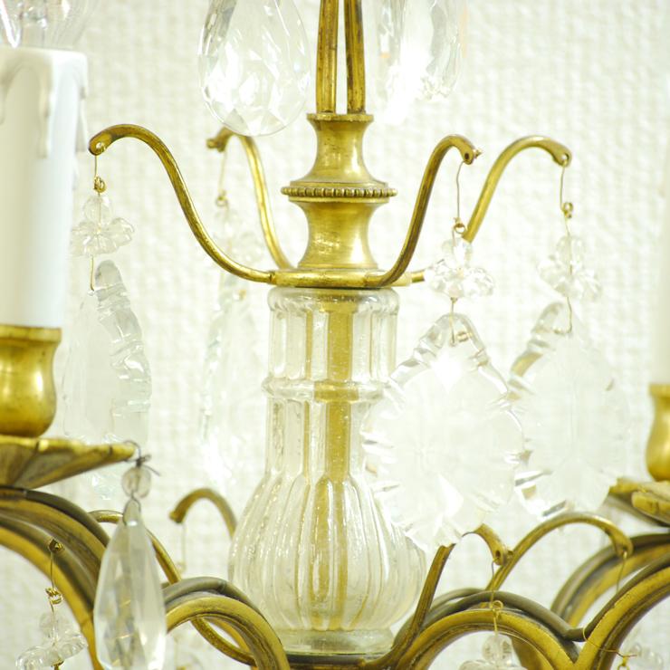 #201308スタンド照明本物アンティーク照明1940年フランス原産テーブルランプ4灯真鍮/ガラス製PSE表示品PL保険付_画像9