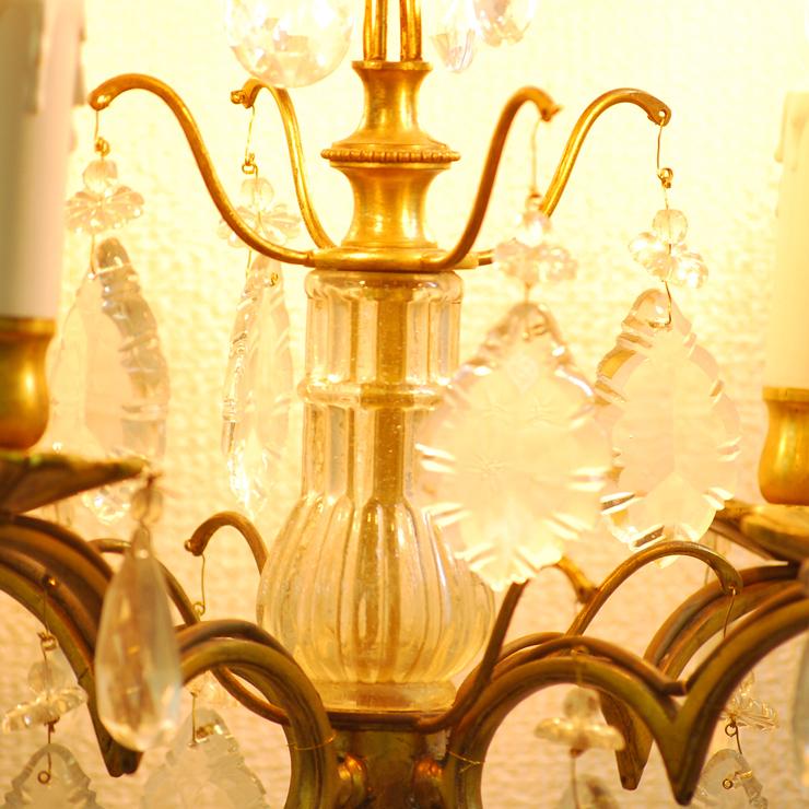 #201308スタンド照明本物アンティーク照明1940年フランス原産テーブルランプ4灯真鍮/ガラス製PSE表示品PL保険付_画像3