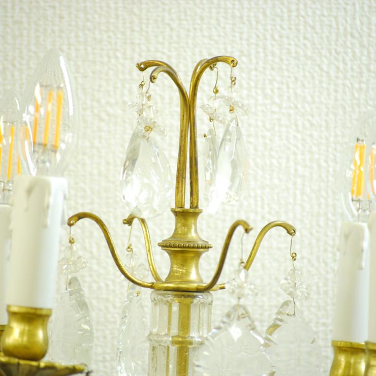 #201308スタンド照明本物アンティーク照明1940年フランス原産テーブルランプ4灯真鍮/ガラス製PSE表示品PL保険付_画像7