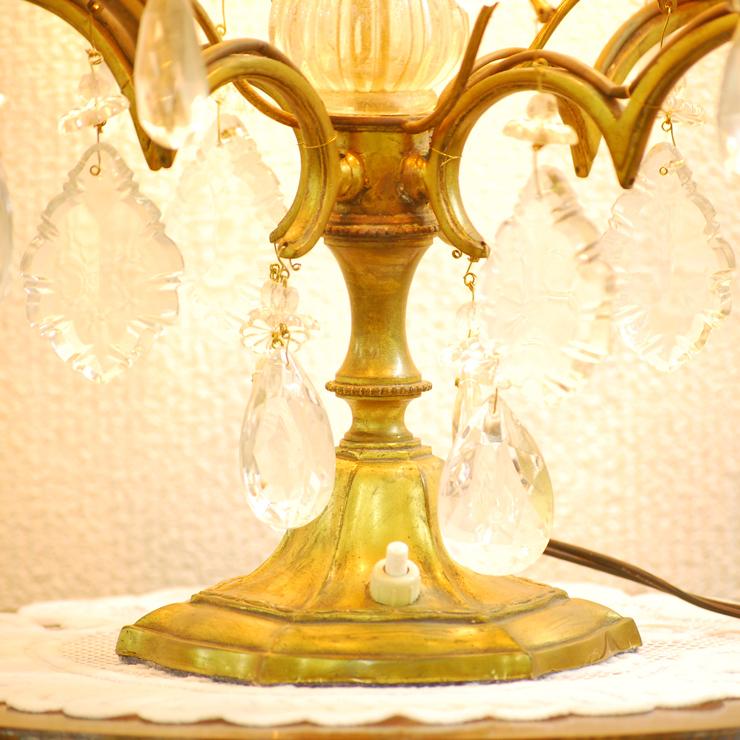 #201308スタンド照明本物アンティーク照明1940年フランス原産テーブルランプ4灯真鍮/ガラス製PSE表示品PL保険付_画像5