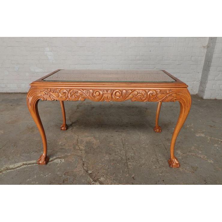 #9301 ガラストップ コーヒーテーブル 人気の猫脚 明るい色味 細かな彫刻 アンティーク家具 オーク製 1920年代_画像1