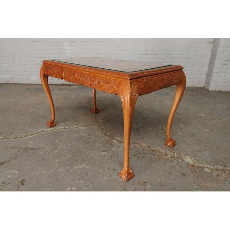 #9301 ガラストップ コーヒーテーブル 人気の猫脚 明るい色味 細かな彫刻 アンティーク家具 オーク製 1920年代_画像10