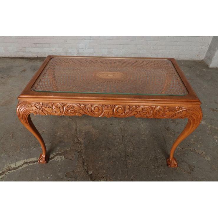 #9301 ガラストップ コーヒーテーブル 人気の猫脚 明るい色味 細かな彫刻 アンティーク家具 オーク製 1920年代_画像2