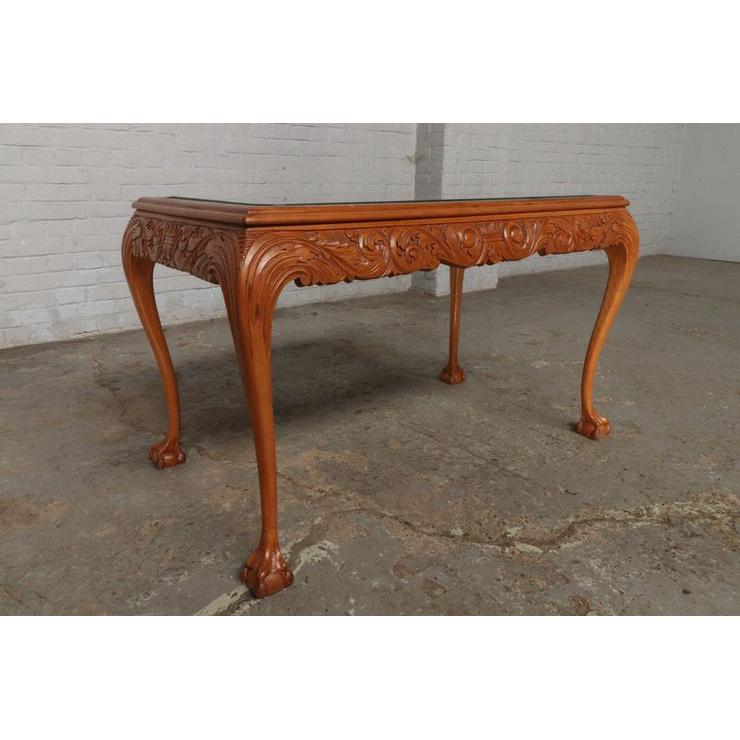 #9301 ガラストップ コーヒーテーブル 人気の猫脚 明るい色味 細かな彫刻 アンティーク家具 オーク製 1920年代_画像7